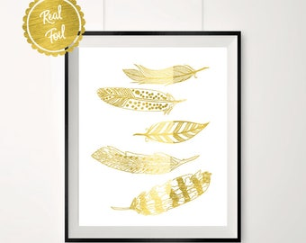 Floating feathers // Gold feathers // feather print // gold feather poster // fallen feathers // pretty print // gold foil print // feather