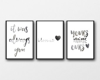 Superbe Real Silver Foil Set Of 3 Prints, Love Typography, Bedroom Wall Art, Romantic  Posters, Wedding Decor, I Love Us, Yours Mine Ours, Heart