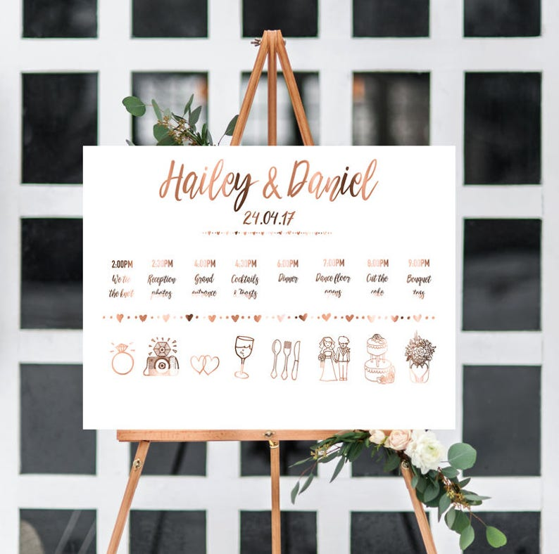 Wedding Timeline Order Of Events Weddings Copper Etsy