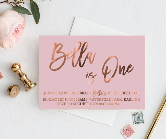 One Year Birthday Invitation Copper Foil Invites Pink