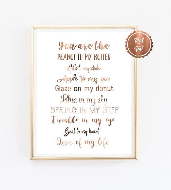 Copper Quotes You Are The Peanut To My Butter Love Etsy