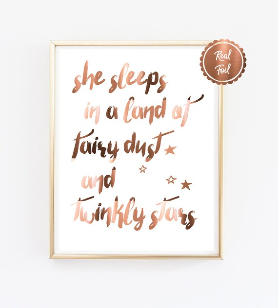 Copper nursery print Fairies Unicorns Mermaids Fly to the moon cute quotes