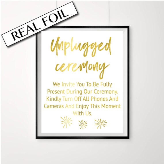 Unplugged ceremony //// wedding signs //// copper wedding //// camera sign //// prints