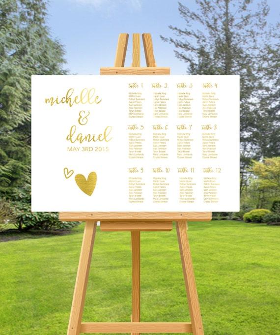 gold foil wedding seating chart wedding seating chart custom etsy