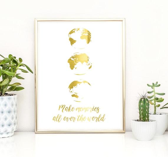 Have an adventure print Gold foil Travel set SET OF 3 Globe make memories