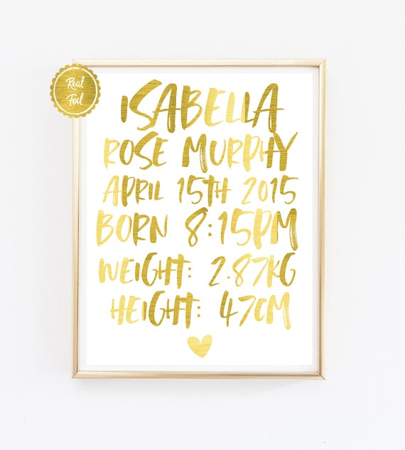 Newborn baby Baby Birth Details Print Gold foil Personalised baby poster