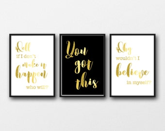 Gold office art, motivational prints, you got this, Quotes for work, Real gold foil, Encouraging quotes, gold posters, small business quote