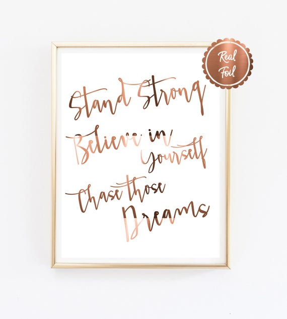 Inspiring Quote Print Stand Strong Believe In Yourself Etsy