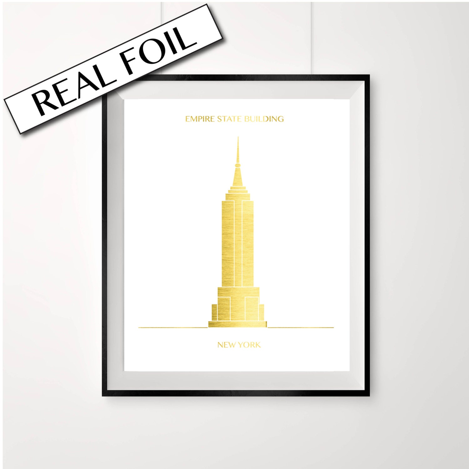 Empire state building poster real gold foil print New york