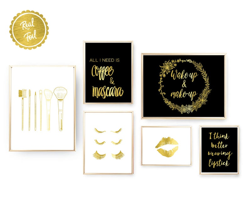 Makeup prints // Set of 6 // 6 makeup posters // gold foil // A3, A4, A5  sizes // mascara // eyelashes // makeup brushes // lips // coffee