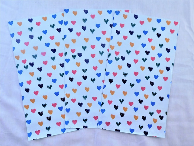50 Colorful Hearts Designer 6x9 Poly Mailers Self Seal Adhesive Plastic Flat Envelope Water Resistant Tear Proof Lightweight
