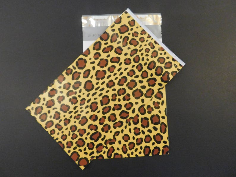 25 Leopard Designer 6x9 Poly Mailers Self Seal Adhesive Plastic Flat Envelope Water Resistant Tear Proof Lightweight Animal Print Size #1