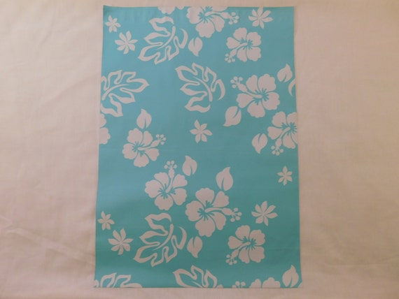 25 12x15.5 Designer Teal Hawaiian Poly Mailers Self Seal Adhesive Plastic Flat Envelope Water Resistant Shipping Tear Proof Lightweight