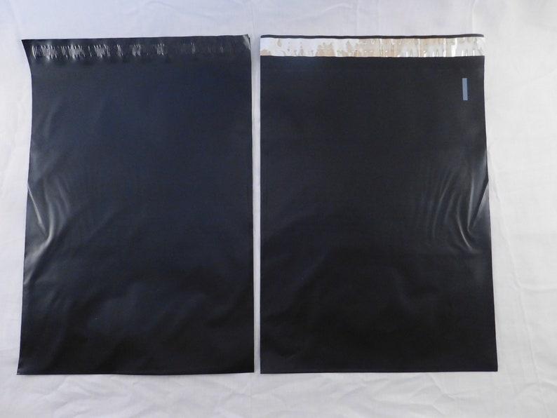 100 14.5x19 BLACK Mailers Shiny Designer Self Seal Adhesive Plastic Flat Envelope Water Resistant Tear Proof Lightweight