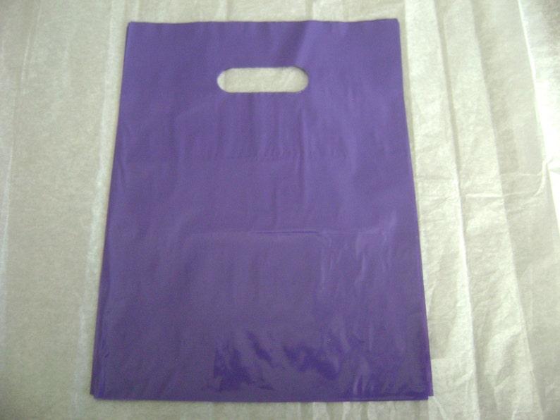 25 pack 9X12 Purple Merchandise Bags Glossy Handles Low Density Handle Gift Bags
