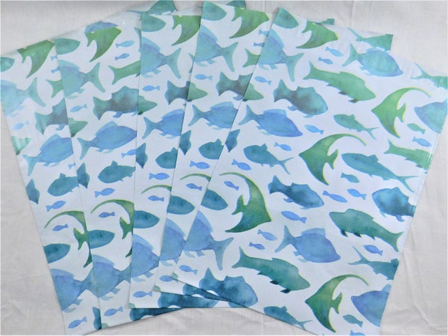 50 10x13 Designer Marine Fish Poly Mailers Self Seal Adhesive Plastic Flat Envelope Water Resistant Shipping Tear Proof Lightweight