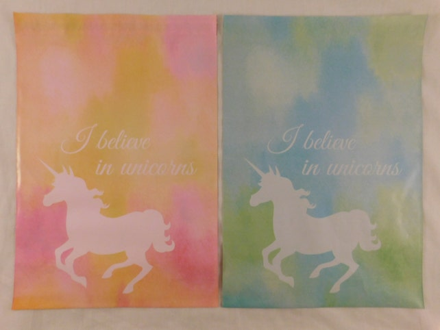 50 10x13 Designer Blue and Pink Unicorn Poly Mailer Self Seal Adhesive Plastic Flat Envelope Water Resistant Shipping Tear Proof Lightweight
