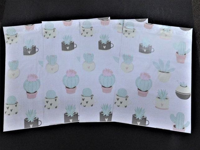 50 10x13 Designer POTTED CACTUS Poly Mailer Set Self Seal Adhesive Plastic Envelope Water Resistant Shipping Tear Proof Light Shipping Bag