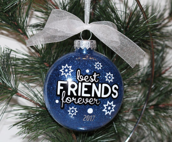 Best Friend Ornament BFF Christmas Ornament BFF Gift Glass | Etsy