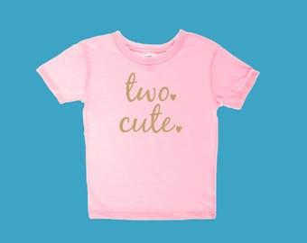 Two Cute Toddler Custom Vinyl T Shirt. Two Year Old Birthday Shirt.  Shirt for Birthday.