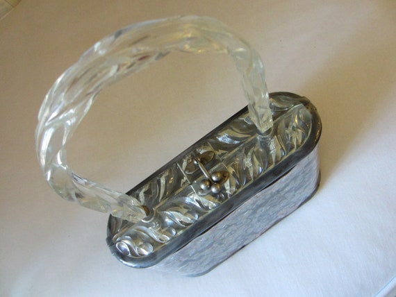 Lucite Purse Pearl Silver Gray Style Wavy Boxy Han