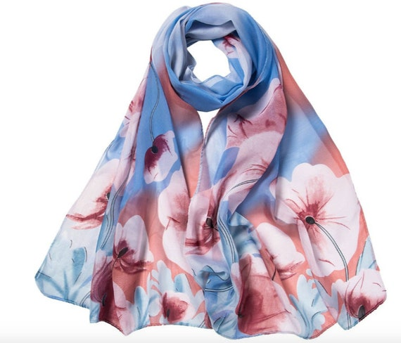 FLOWER PATTERN ALL SEASON LIGHT WEIGHT WRAP OR SCARF COLOR BLUE