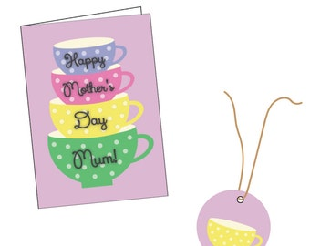 Teacups | Card and Gift Tag Set | Mother's Day