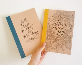 Custom Hand Lettered A5 Muji Lined Kraft Notebook| Journal | Personalized Florals, Quotes, Perfect Gifts for family and friends