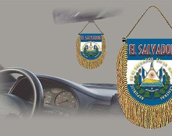 El Salvador rear view mirror world flag car banner pennant