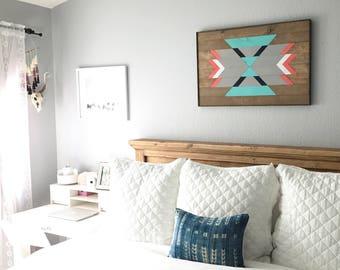 Wood Wall Art - Southwestern Decor - Modern Wood Art - Boho Wood Art - Geometric Wood Art