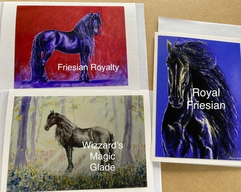 FRIESIANS IN PURPLE - 3 pack Blank Greeting Cards with White Envelopes
