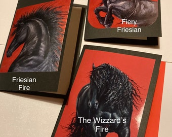 BLACK FRIESIAN STALLIONS (Collection 3.) - 3 pack blank greeting cards with black or red envelopes