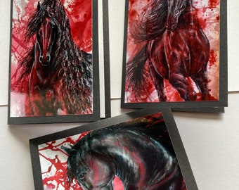 BLACK FRIESIAN STALLIONS (Collection 1.) - 3 pack black greeting cards with black or red envelopes