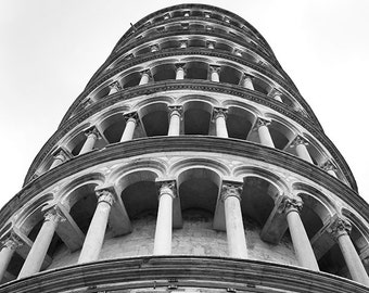 Printable travel photography   black and white home decor artwork   architecture   Leaning tower of Pisa, Italy picture   Instant download