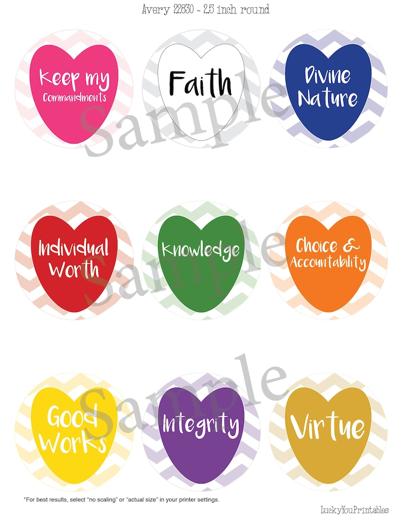 graphic regarding Printable Heart Shaped Labels titled Printable YW Values spherical labels, centre formed Jar labels Candle labels  Cupcake toppers Fresh new Beginnings 2019 Favors LDS More youthful Women of all ages