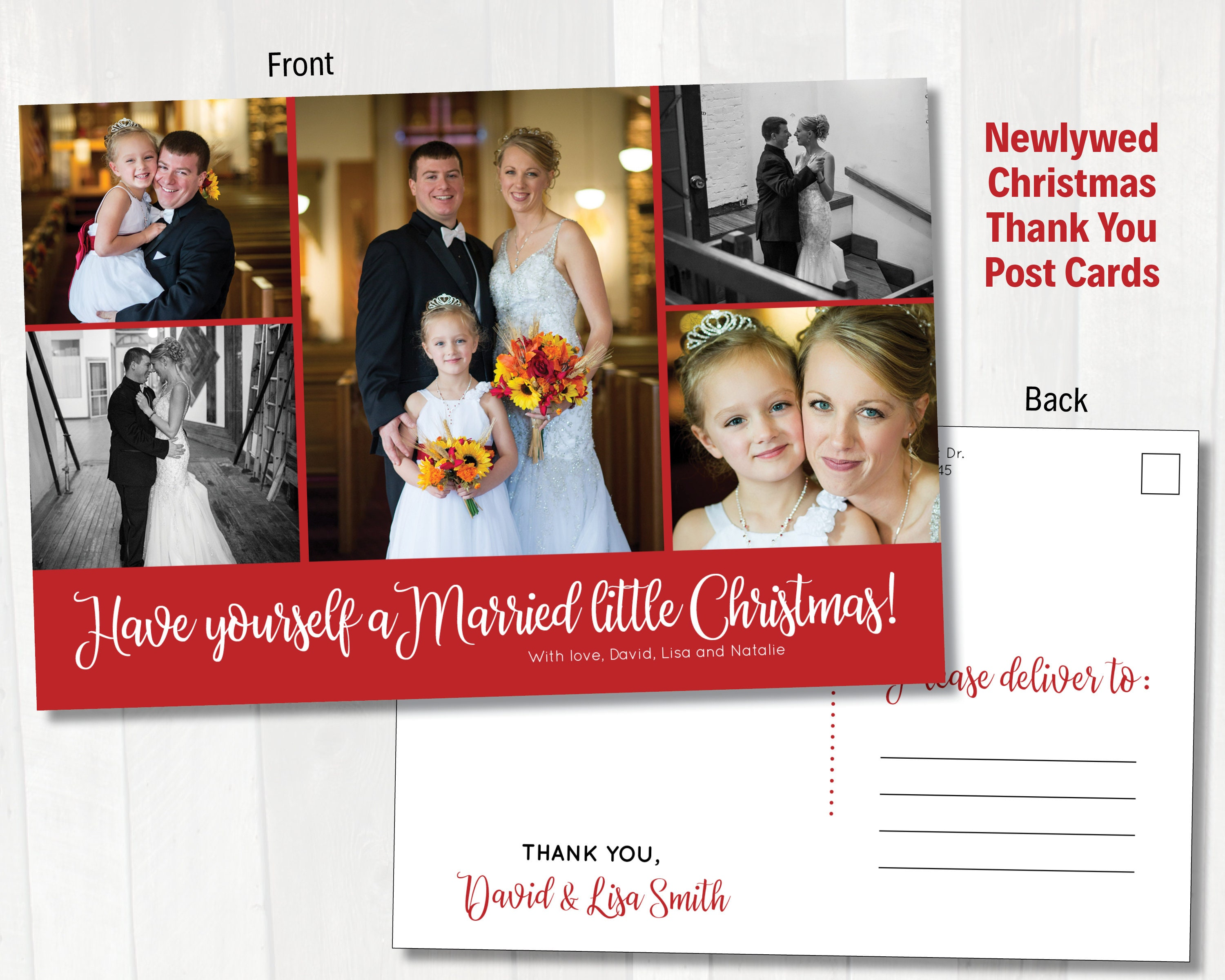 Newlywed Christmas Thank You Post Cards Just Married holiday | Etsy