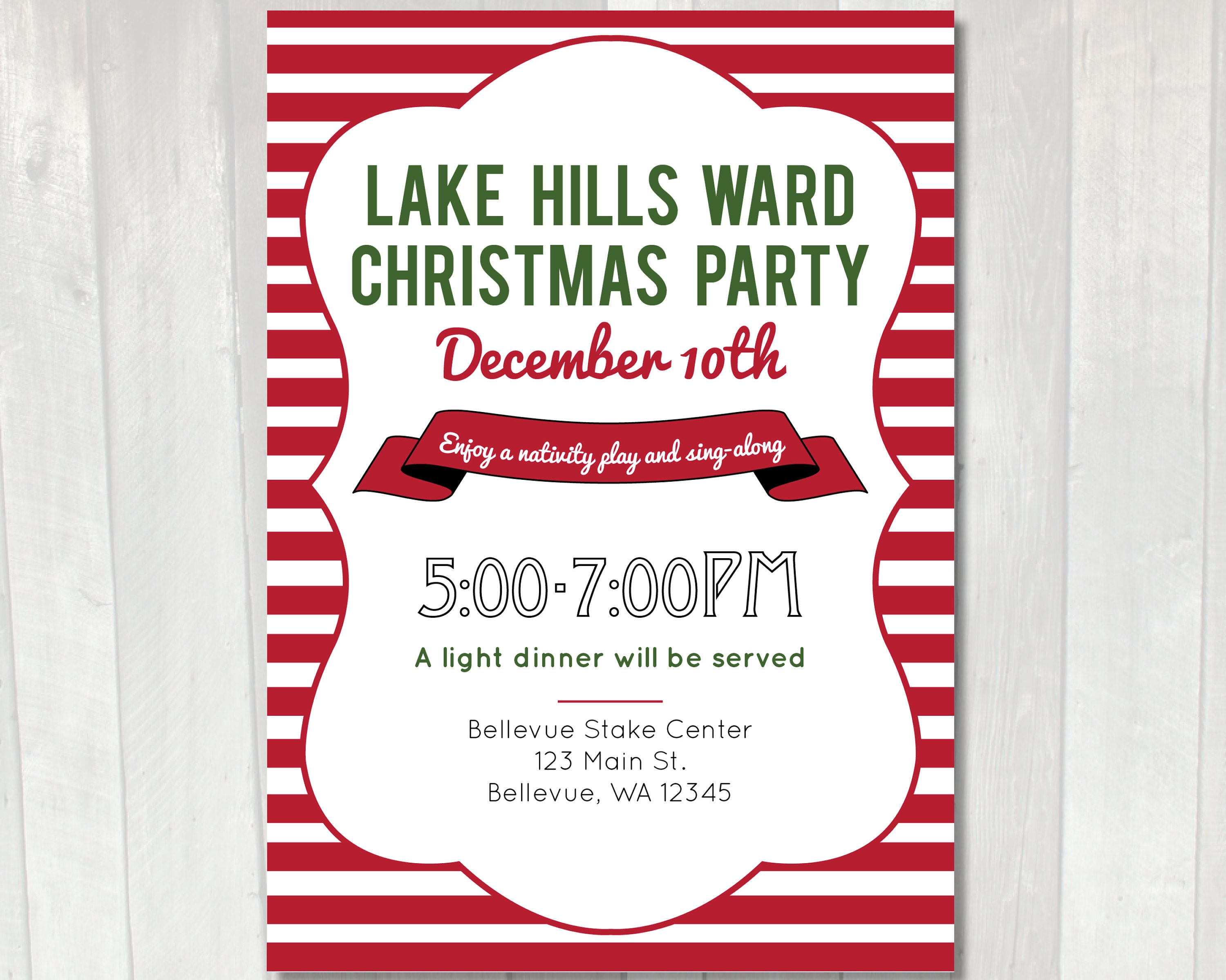 Printable Christmas Party Invitation LDS Ward Christmas | Etsy