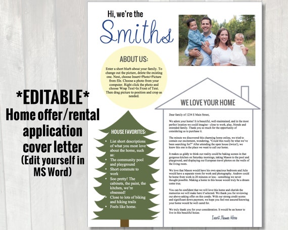 Editable Home Offer Letter Customizable Cover Letter For Etsy