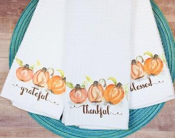 Decorative Dish Towel Set for Thanksgiving Grateful Thankful Blessed - Original Watercolor Kitchen Towel Tea Towel Dish Towel - 16''x27''