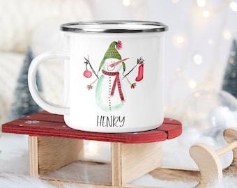 Snowman Mug, Cocoa Mug, Christmas Mug, personalized Camp Mug, 11oz Camping Mug, Clamping Mug, Child Milk Mug