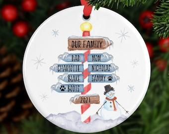 Family Name Ornament, Custom Ornament, Family Christmas Ornament, Personalized Christmas Ornament, Family Gift, Year Ornament, Pet Ornament