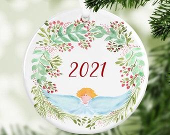 Angel Ornament, Year Ornament, Custom Ornament, Christmas 2021, Christmas Ornament, Family Gift, Year Ornament