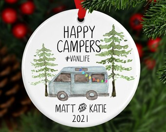 Van Life Personalized Ornament, Happy Camper  Ornament, Custom Ornament, Christmas Camper, Christmas Ornament, Hiking Gift, Year Ornament
