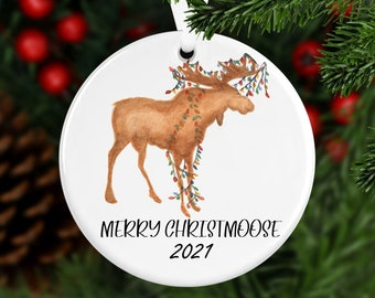 Merry Christmoose Ornament, Year Ornament, Custom Ornament, Christmas 2021, Christmas Ornament, Family Gift, Year Ornament, Moose Ornament