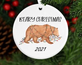 Beary Christmas Ornament, Year Ornament, Custom Ornament, Christmas 2021, Christmas Ornament, Family Gift, Year Ornament, Bear Ornament