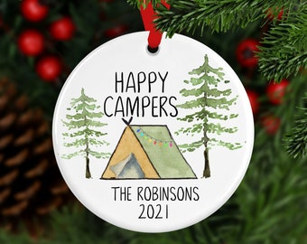 Personalized Camper Ornament, Happy Camper  Ornament, Custom Ornament, Christmas Tent, Christmas Ornament, Family Gift, Year Ornament