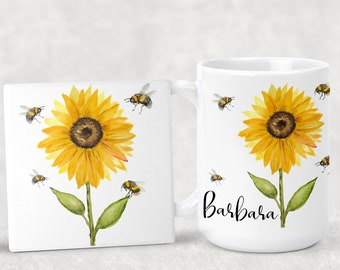 Personalized Original Design Sunflower with lots of Bees Coffee Mug 15oz 11oz Matching Ceramic Coaster Personalized Gift