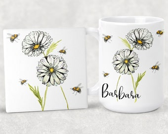 Personalized Original Design Daisies with lots of Bees Coffee Mug 15oz 11oz Matching Ceramic Coaster Personalized Gift