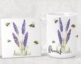 Personalized Original Design Lavender with lots of Bees Coffee Mug 15oz 11oz Matching Ceramic Coaster Personalized Gift