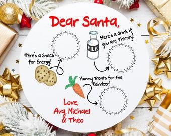 Santa Milk and Cookie Tray, Personalized Santa Cookie Tray, Christmas Eve Treat Tray, Santa Treat Tray, Santa Cookies Milk Tray MDF Board